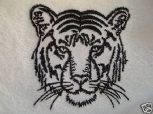 PERSONALISED WHITE HAND TOWEL TIGER - TIGERS Design